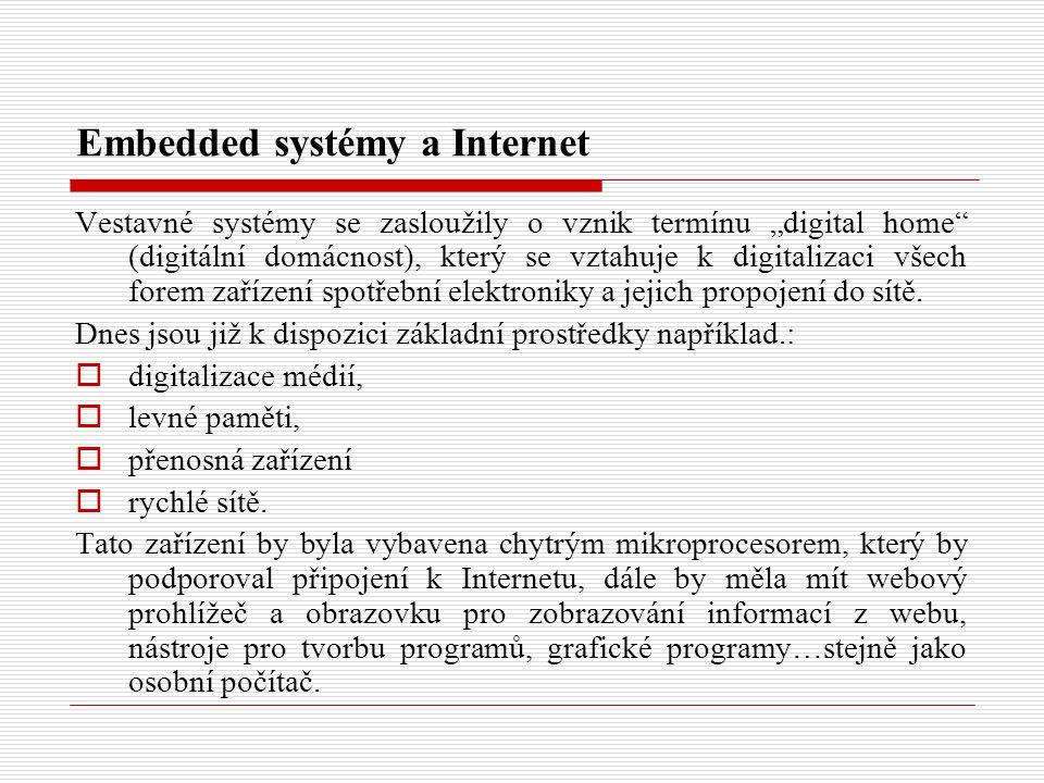 """Embedded systémy a Internet Vestavné systémy se zasloužily o vznik termínu """"digital home (digitální domácnost), který se vztahuje k digitalizaci všech forem zařízení spotřební elektroniky a jejich propojení do sítě."""