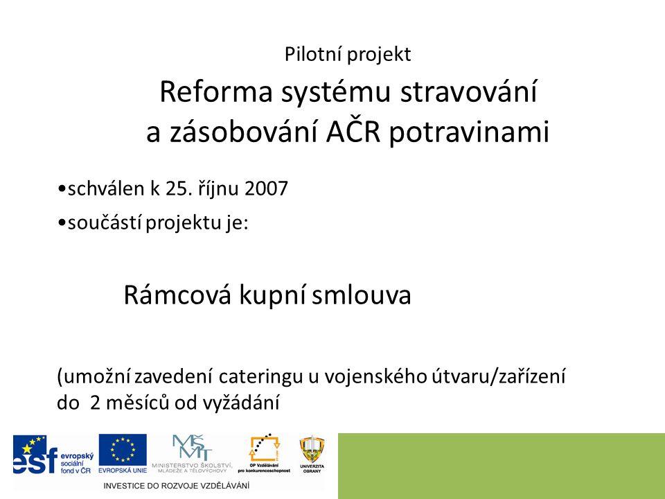 Pilotní projekt Reforma systému stravování a zásobování AČR potravinami schválen k 25.