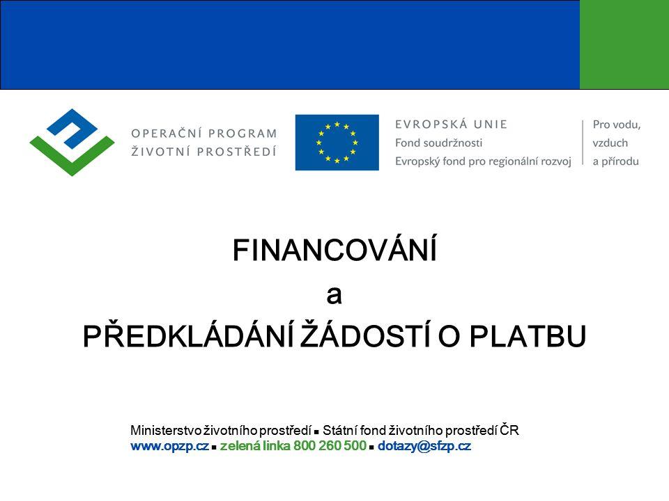 2 Obsah I.Základní dokumenty OPŽP v oblasti financování II.