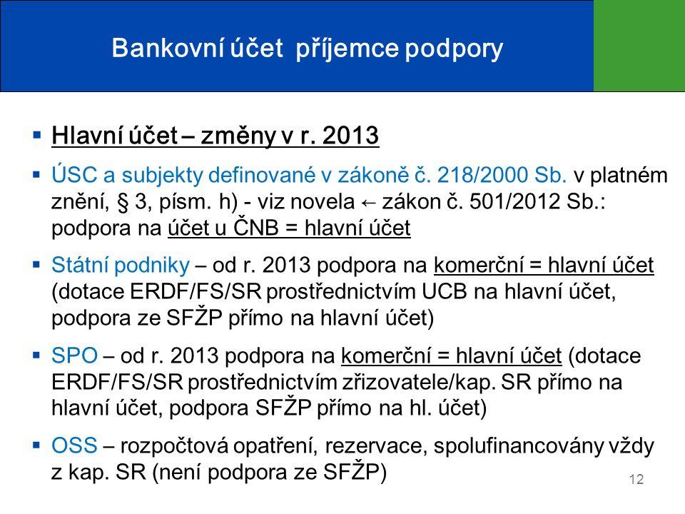  Hlavní účet – změny v r. 2013  ÚSC a subjekty definované v zákoně č.
