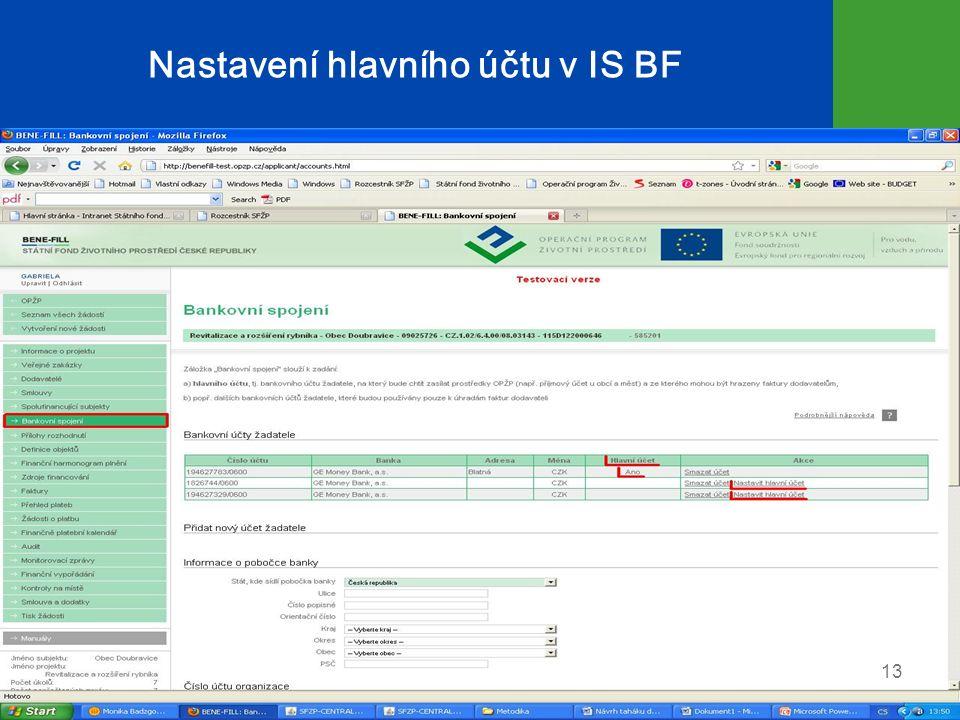 Nastavení hlavního účtu v IS BF 13