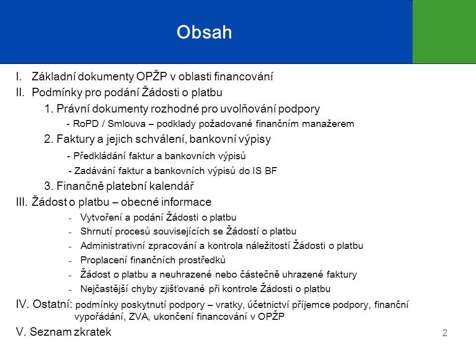 2 Obsah I. Základní dokumenty OPŽP v oblasti financování II.
