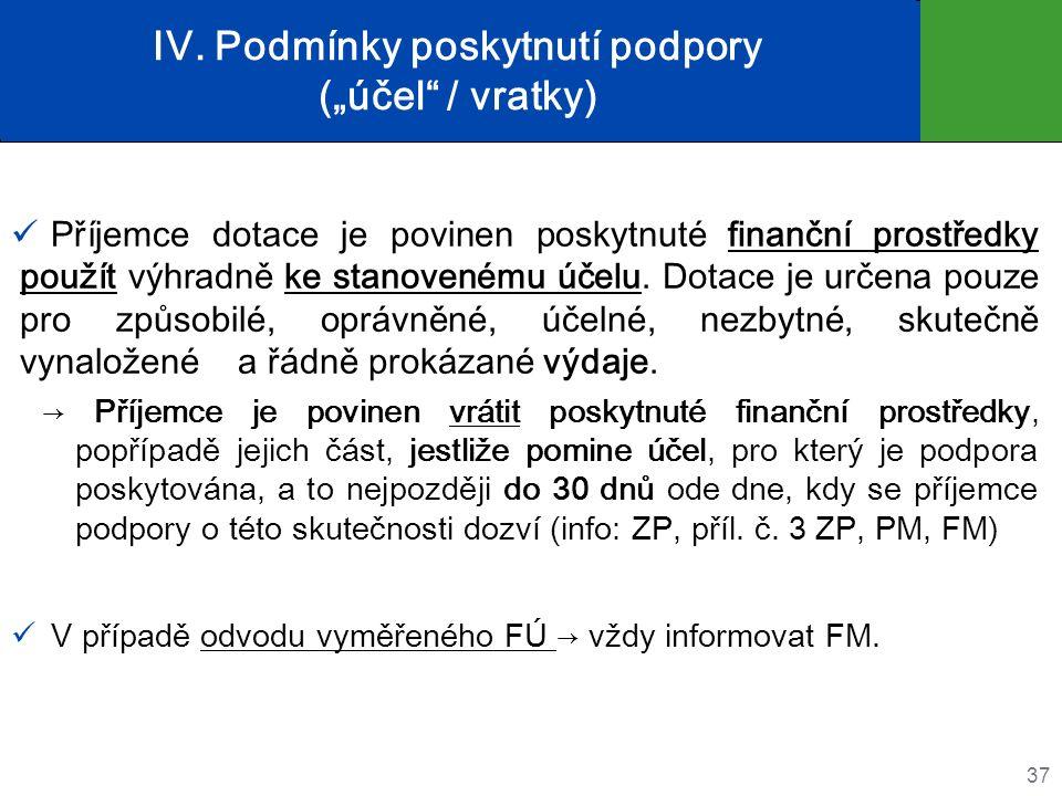 """IV. Podmínky poskytnutí podpory (""""účel"""" / vratky) Příjemce dotace je povinen poskytnuté finanční prostředky použít výhradně ke stanovenému účelu. Dota"""