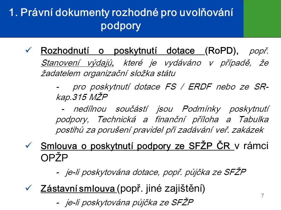 1. Právní dokumenty rozhodné pro uvolňování podpory Rozhodnutí o poskytnutí dotace (RoPD), popř.