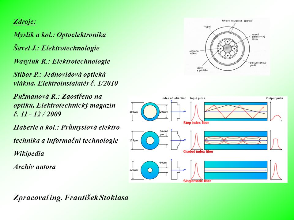 Zdroje: Myslík a kol.: Optoelektronika Šavel J.: Elektrotechnologie Wasyluk R.: Elektrotechnologie Stibor P.: Jednovidová optická vlákna, Elektroinsta