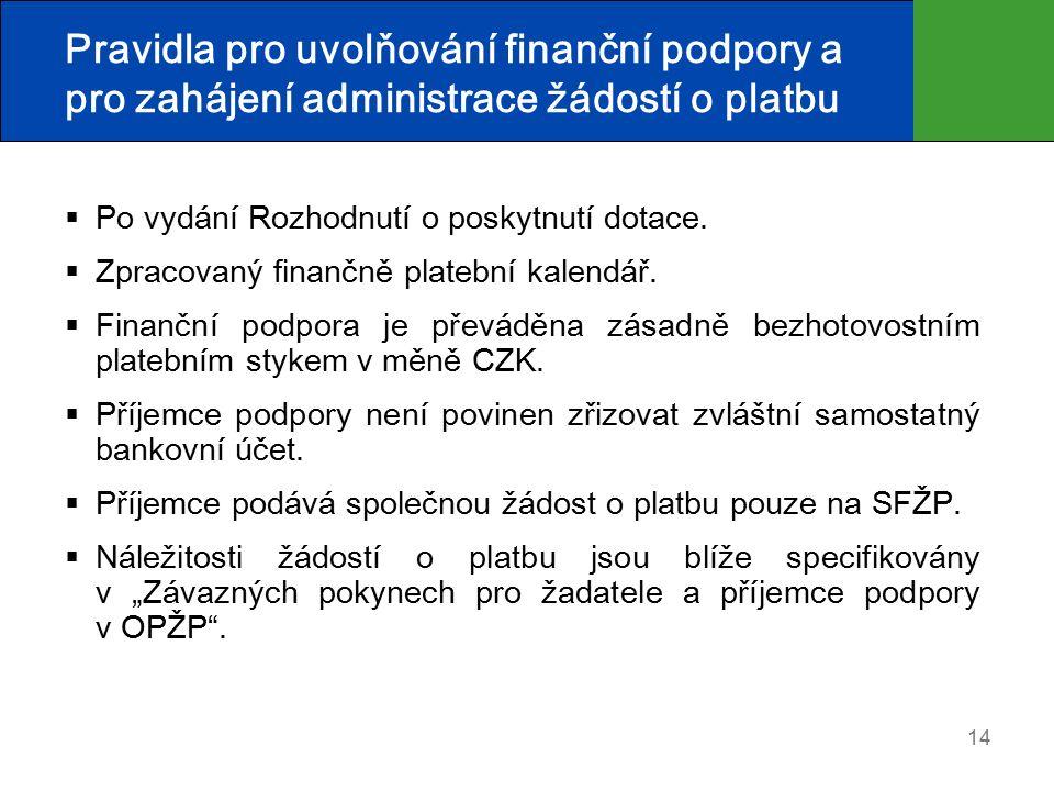 14 Pravidla pro uvolňování finanční podpory a pro zahájení administrace žádostí o platbu  Po vydání Rozhodnutí o poskytnutí dotace.