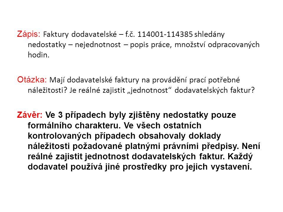Zápis: Faktury dodavatelské – f.č.