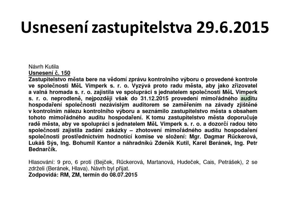Usnesení rady města 20.7.2015