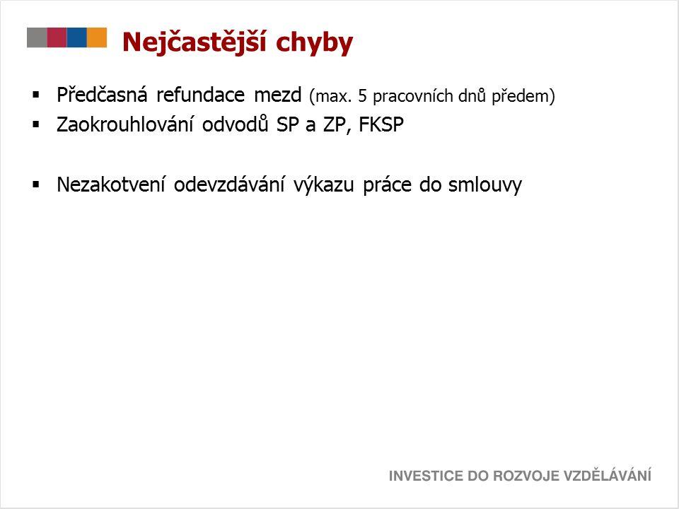 Nejčastější chyby  Předčasná refundace mezd (max.