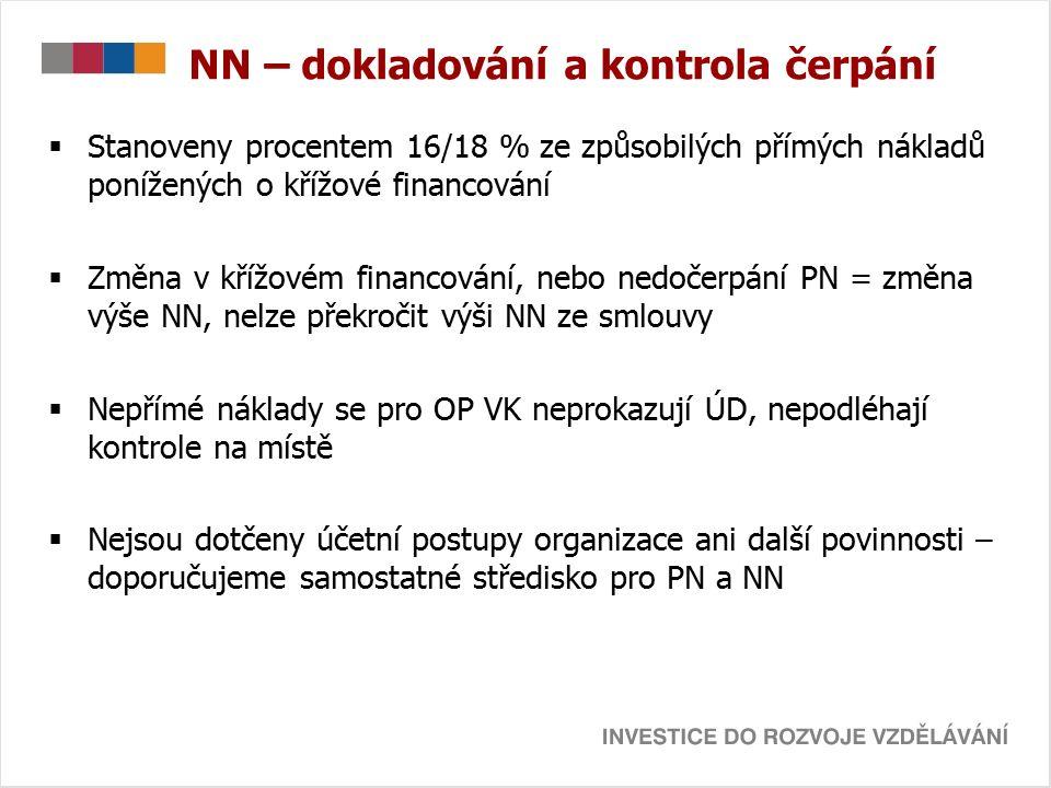 NN – dokladování a kontrola čerpání  Stanoveny procentem 16/18 % ze způsobilých přímých nákladů ponížených o křížové financování  Změna v křížovém financování, nebo nedočerpání PN = změna výše NN, nelze překročit výši NN ze smlouvy  Nepřímé náklady se pro OP VK neprokazují ÚD, nepodléhají kontrole na místě  Nejsou dotčeny účetní postupy organizace ani další povinnosti – doporučujeme samostatné středisko pro PN a NN