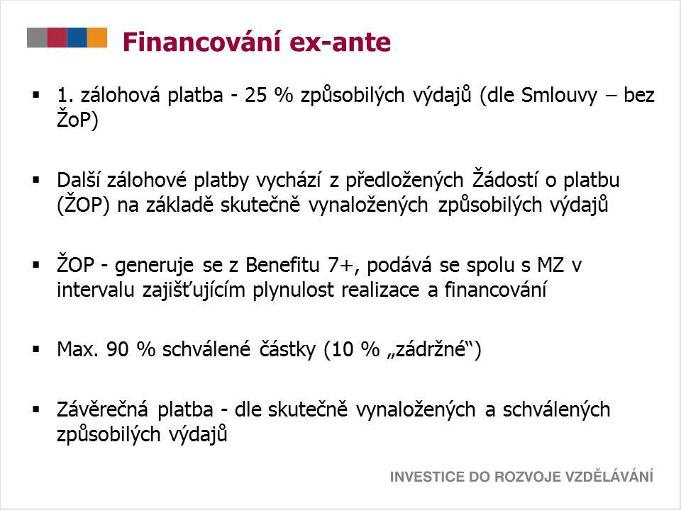 Financování ex-ante  1. zálohová platba - 25 % způsobilých výdajů (dle Smlouvy – bez ŽoP)  Další zálohové platby vychází z předložených Žádostí o pl