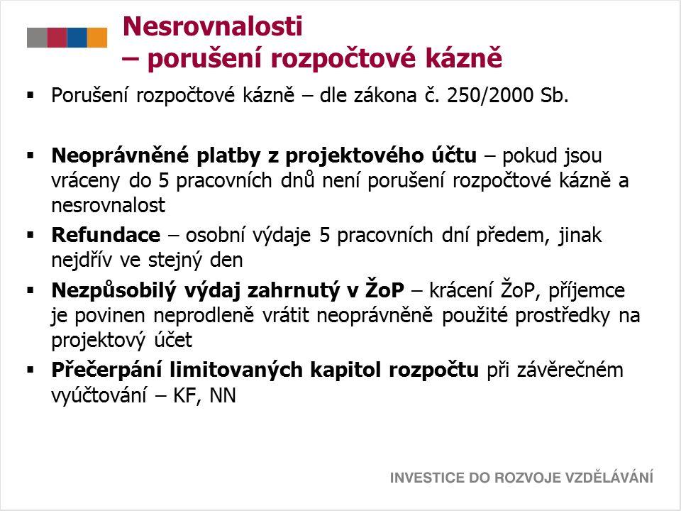 Nesrovnalosti – porušení rozpočtové kázně  Porušení rozpočtové kázně – dle zákona č.