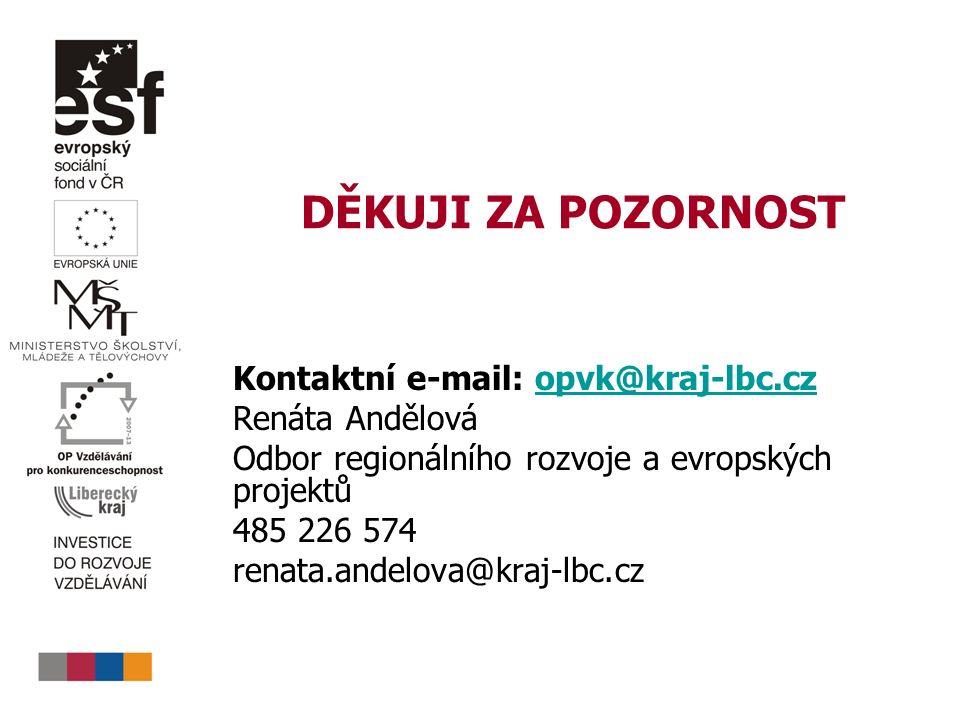 DĚKUJI ZA POZORNOST Kontaktní e-mail: opvk@kraj-lbc.czopvk@kraj-lbc.cz Renáta Andělová Odbor regionálního rozvoje a evropských projektů 485 226 574 renata.andelova@kraj-lbc.cz