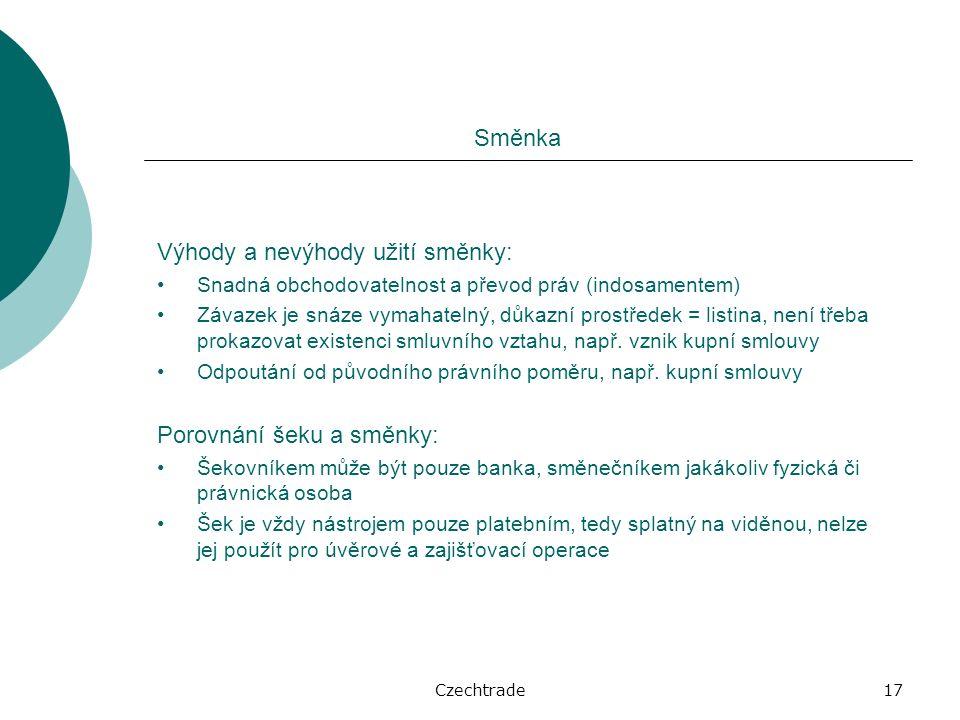 Czechtrade17 Směnka Výhody a nevýhody užití směnky: Snadná obchodovatelnost a převod práv (indosamentem) Závazek je snáze vymahatelný, důkazní prostředek = listina, není třeba prokazovat existenci smluvního vztahu, např.