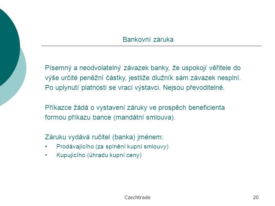 Czechtrade20 Bankovní záruka Písemný a neodvolatelný závazek banky, že uspokojí věřitele do výše určité peněžní částky, jestliže dlužník sám závazek nesplní.