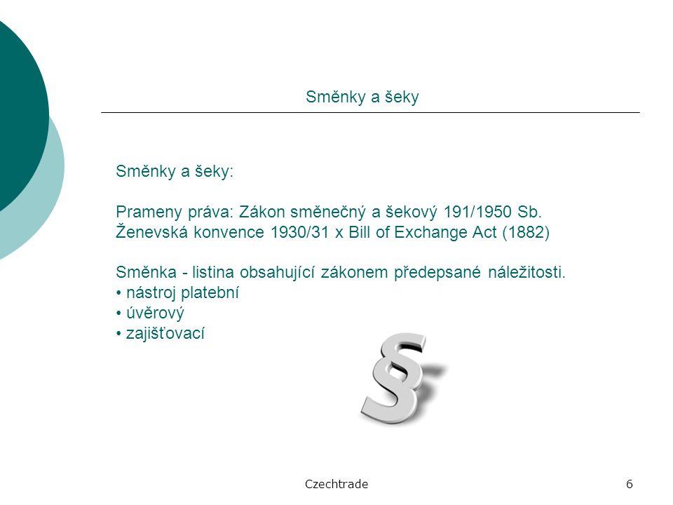 Czechtrade7 Směnky a šeky Základní druhy směnek (liší se v osobě výstavce): vlastní (forma závazková): výstavce se zavazuje sám zaplatit směnečnou částku ve stanovené lhůtě oprávněné osobě (promissory note)