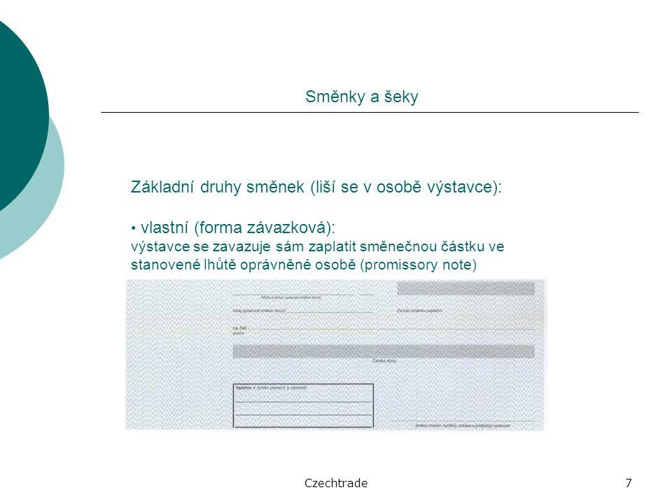 Czechtrade28 Dokumentární inkaso Forma platebního styku, při níž je vydání dokumentů podmíněno zaplacením nebo akceptací směnky.