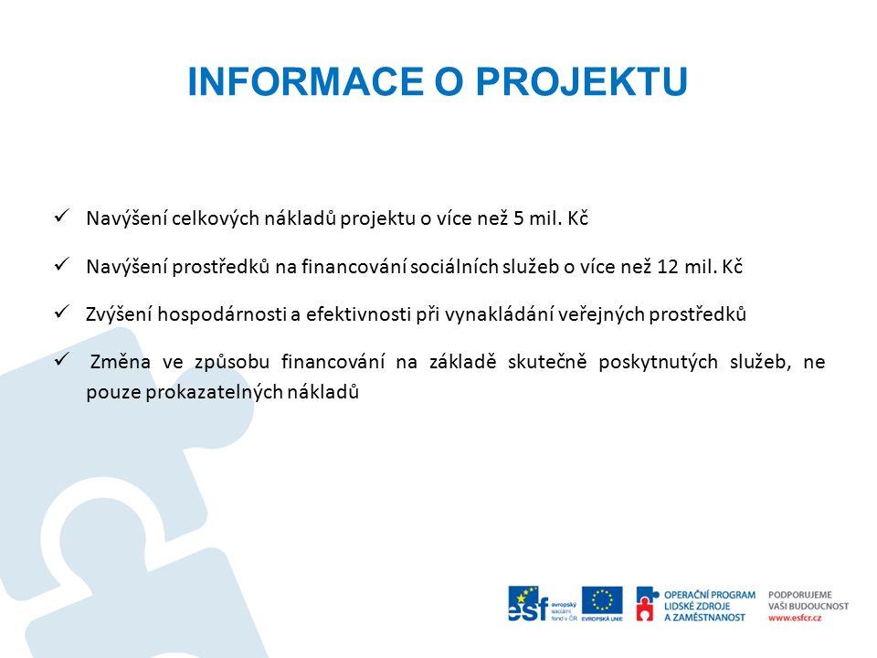 INFORMACE O PROJEKTU Navýšení celkových nákladů projektu o více než 5 mil.