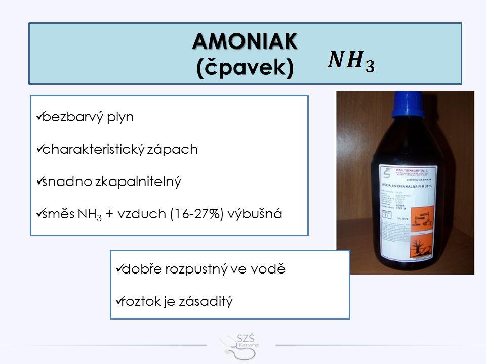 AMONIAK AMONIAK (čpavek) bezbarvý plyn charakteristický zápach snadno zkapalnitelný směs NH 3 + vzduch (16-27%) výbušná dobře rozpustný ve vodě roztok je zásaditý