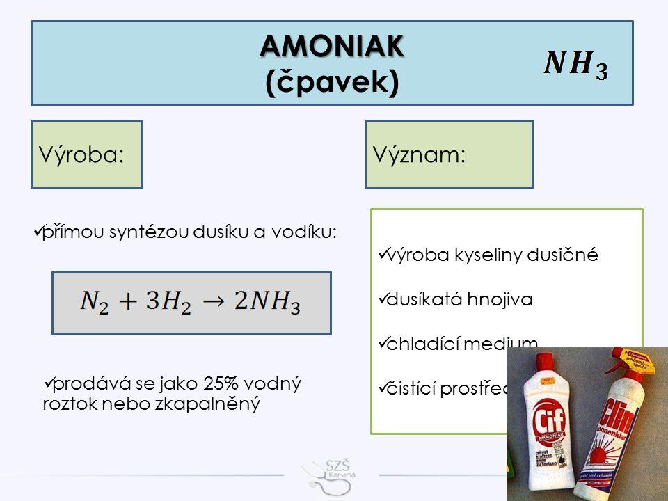 AMONIAK AMONIAK (čpavek) Výroba: přímou syntézou dusíku a vodíku: prodává se jako 25% vodný roztok nebo zkapalněný Význam: výroba kyseliny dusičné dusíkatá hnojiva chladící medium čistící prostředky na sklo
