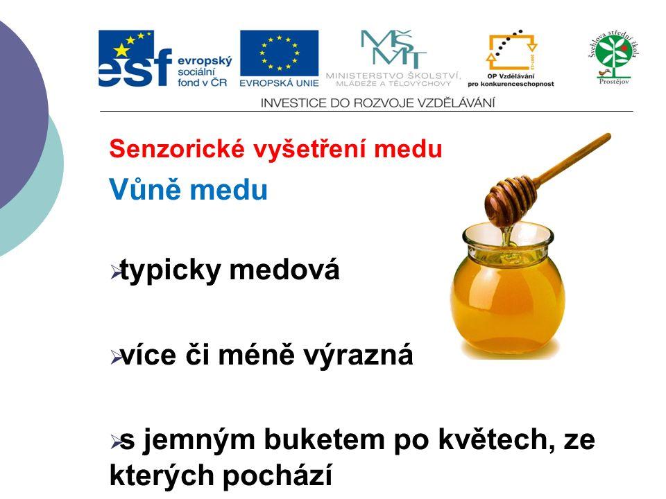 Senzorické vyšetření medu Vůně medu  typicky medová  více či méně výrazná  s jemným buketem po květech, ze kterých pochází