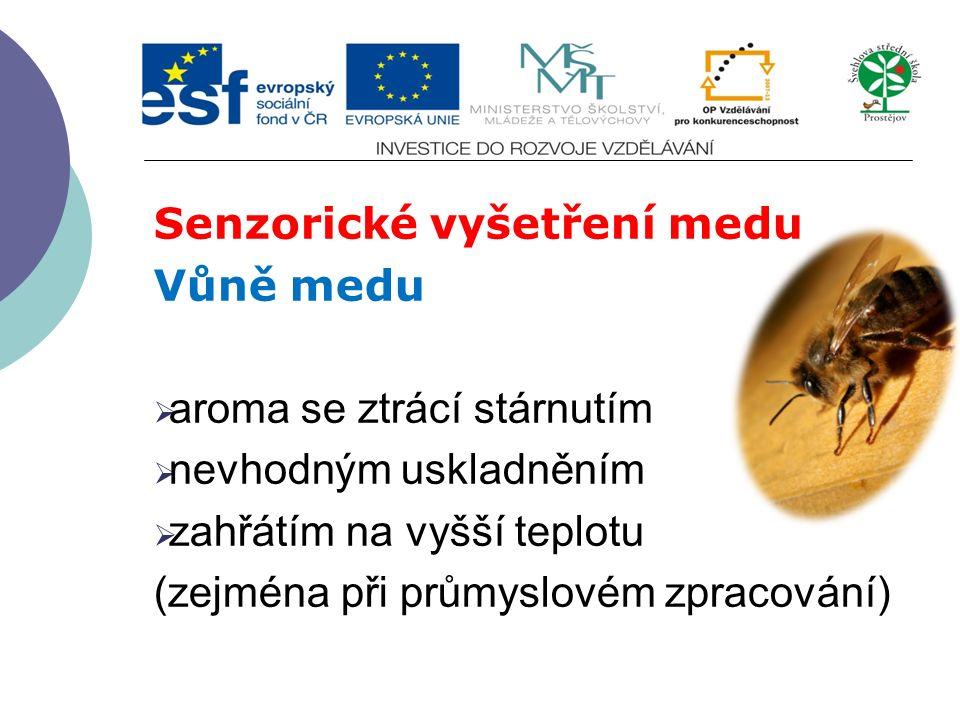 Senzorické vyšetření medu Vůně medu  aroma se ztrácí stárnutím  nevhodným uskladněním  zahřátím na vyšší teplotu (zejména při průmyslovém zpracován