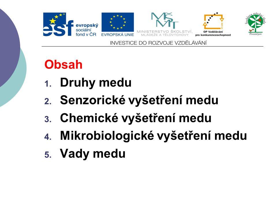 Obsah 1. Druhy medu 2. Senzorické vyšetření medu 3. Chemické vyšetření medu 4. Mikrobiologické vyšetření medu 5. Vady medu