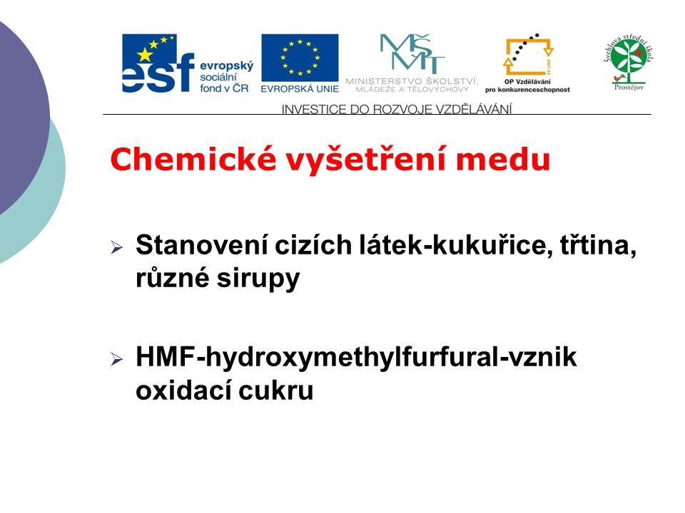 Chemické vyšetření medu  Stanovení cizích látek-kukuřice, třtina, různé sirupy  HMF-hydroxymethylfurfural-vznik oxidací cukru