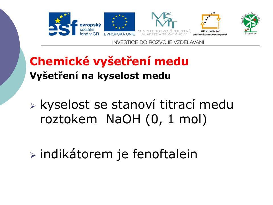 Chemické vyšetření medu Vyšetření na kyselost medu  kyselost se stanoví titrací medu roztokem NaOH (0, 1 mol)  indikátorem je fenoftalein