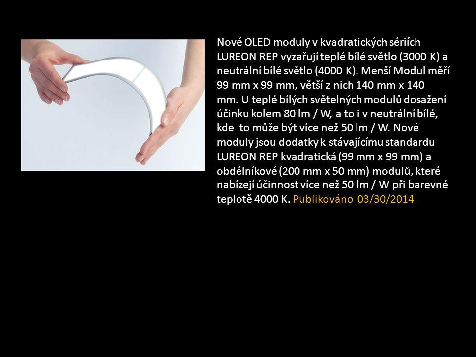 Nové OLED moduly v kvadratických sériích LUREON REP vyzařují teplé bílé světlo (3000 K) a neutrální bílé světlo (4000 K).