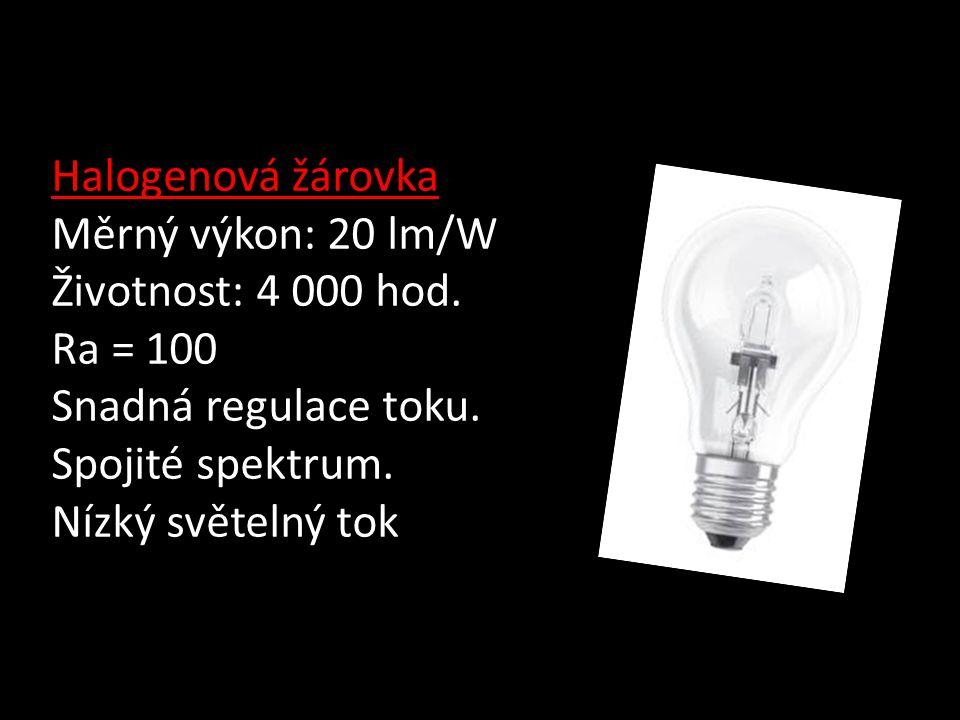 Halogenová žárovka Měrný výkon: 20 lm/W Životnost: 4 000 hod.