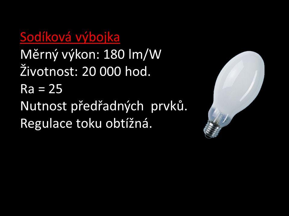 Sodíková výbojka Měrný výkon: 180 lm/W Životnost: 20 000 hod.