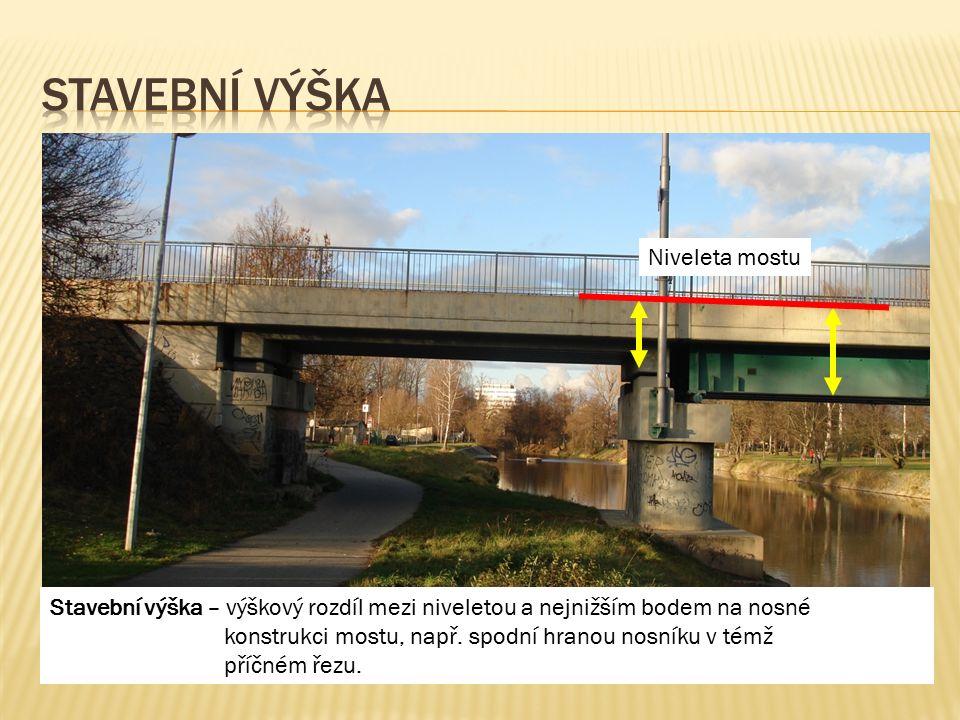 Niveleta mostu Stavební výška – výškový rozdíl mezi niveletou a nejnižším bodem na nosné konstrukci mostu, např. spodní hranou nosníku v témž příčném