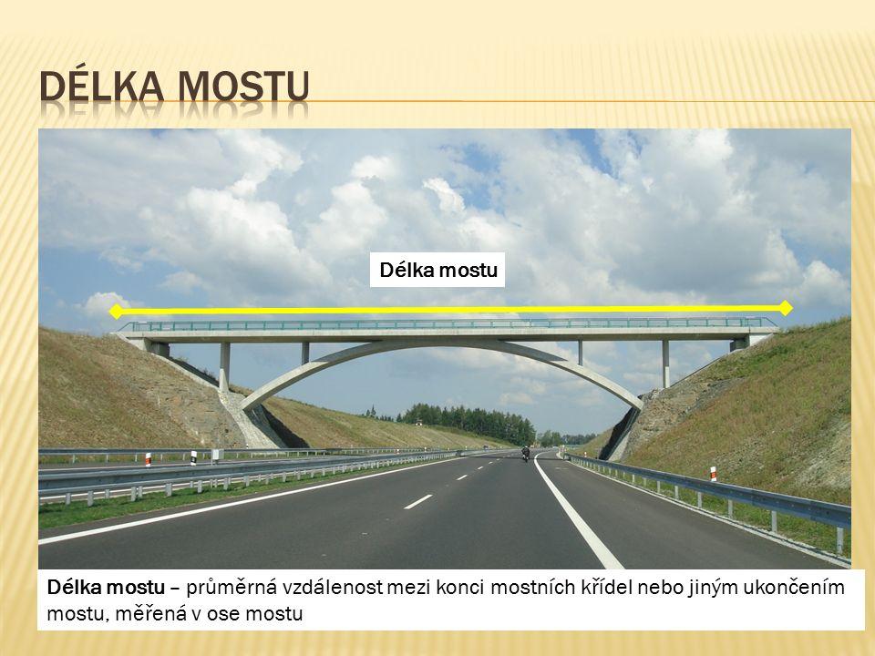 Délka mostu Délka mostu – průměrná vzdálenost mezi konci mostních křídel nebo jiným ukončením mostu, měřená v ose mostu