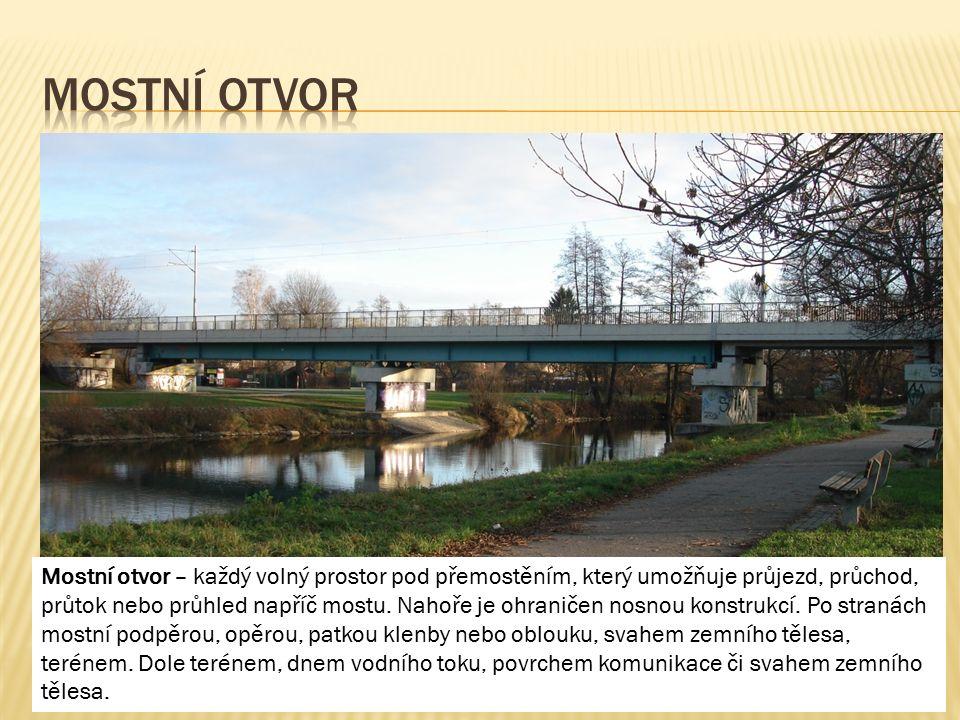 Mostní otvor – každý volný prostor pod přemostěním, který umožňuje průjezd, průchod, průtok nebo průhled napříč mostu. Nahoře je ohraničen nosnou kons
