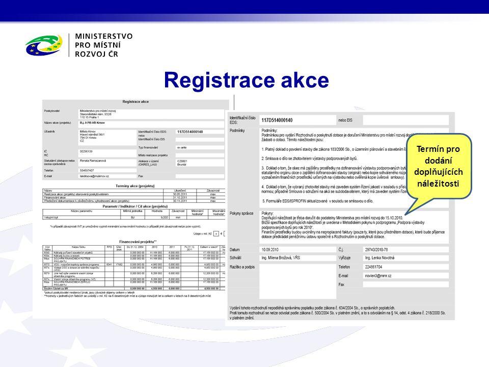 Registrace akce Termín pro dodání doplňujících náležitosti