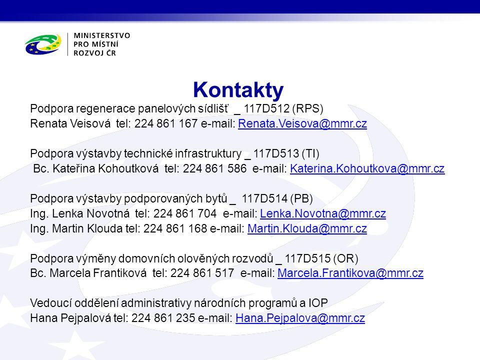 Podpora regenerace panelových sídlišť _ 117D512 (RPS) Renata Veisová tel: 224 861 167 e-mail: Renata.Veisova@mmr.czRenata.Veisova@mmr.cz Podpora výstavby technické infrastruktury _ 117D513 (TI) Bc.