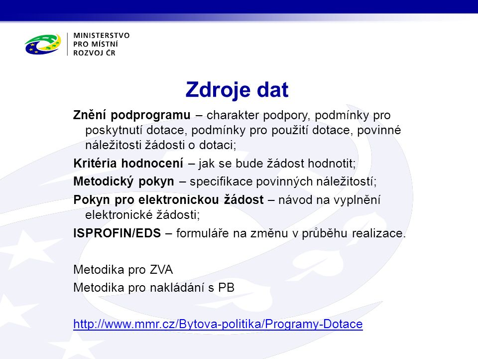 Bytová politika Dotace a programy