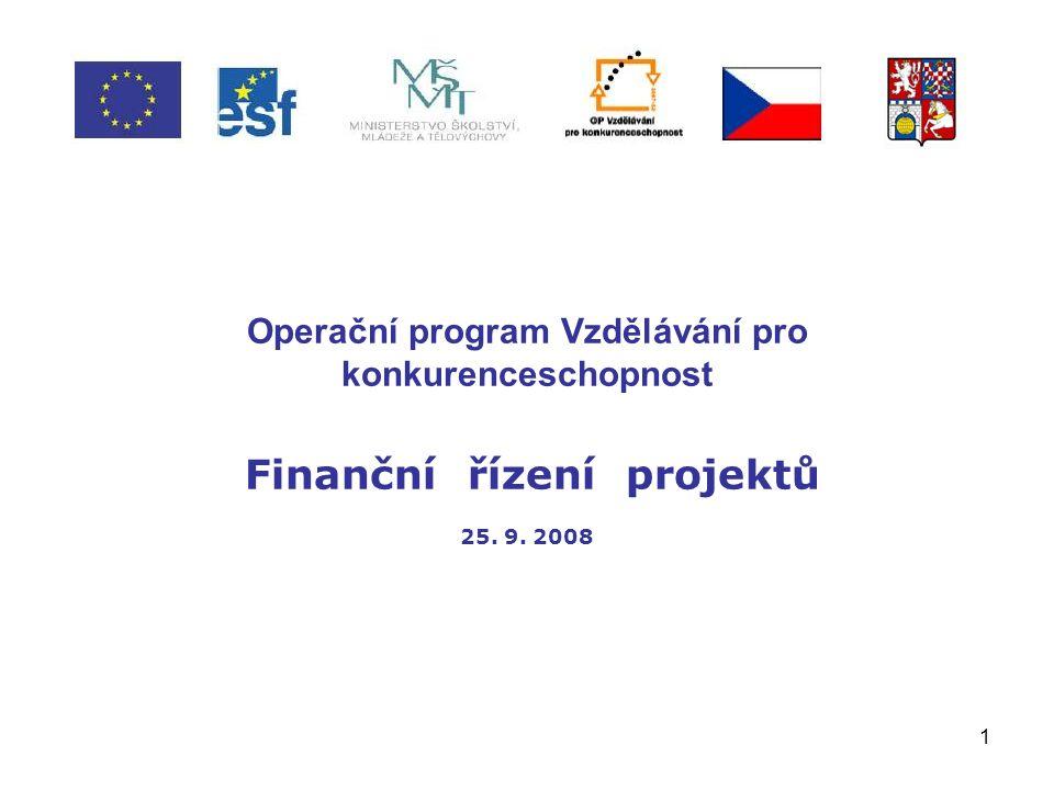 1 Operační program Vzdělávání pro konkurenceschopnost Finanční řízení projektů 25. 9. 2008