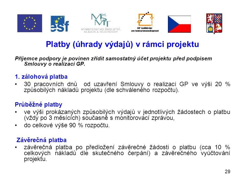 29 Platby (úhrady výdajů) v rámci projektu Příjemce podpory je povinen zřídit samostatný účet projektu před podpisem Smlouvy o realizaci GP.
