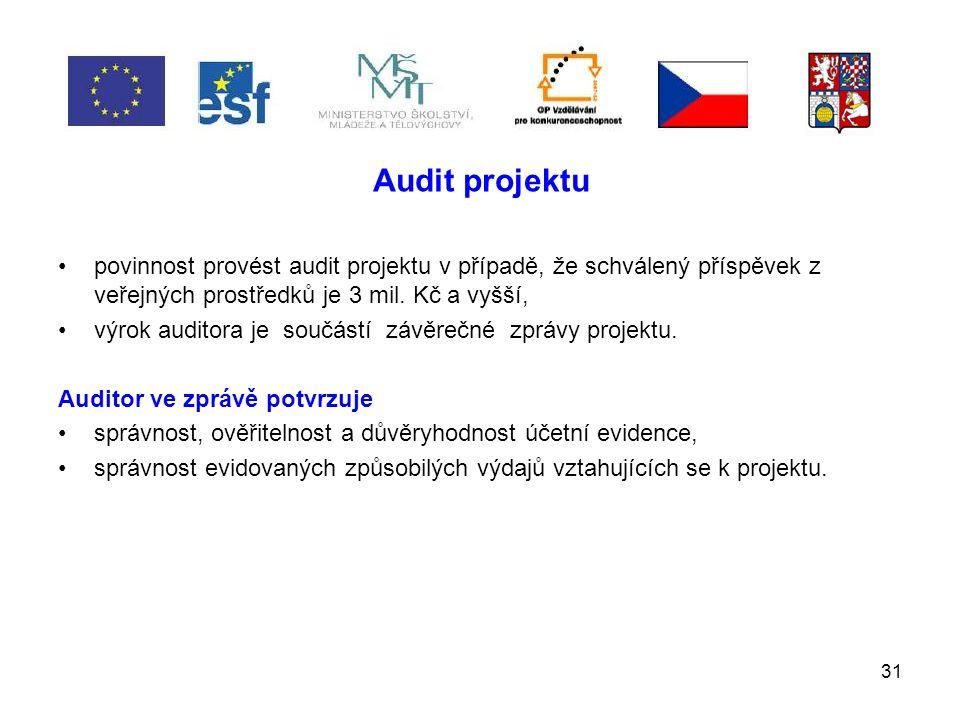 31 Audit projektu povinnost provést audit projektu v případě, že schválený příspěvek z veřejných prostředků je 3 mil.