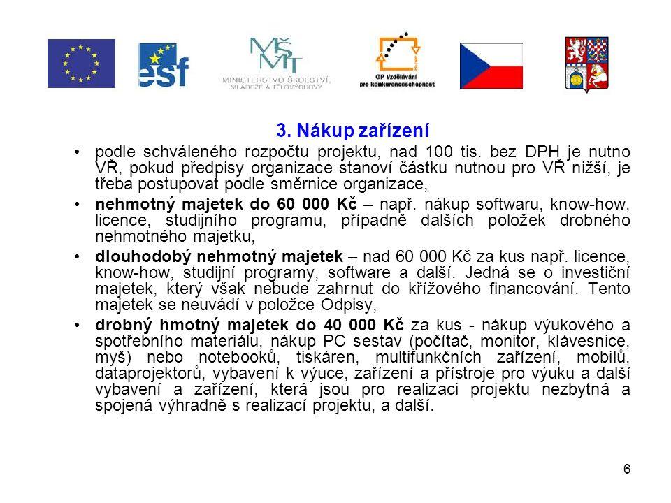 6 3. Nákup zařízení podle schváleného rozpočtu projektu, nad 100 tis.