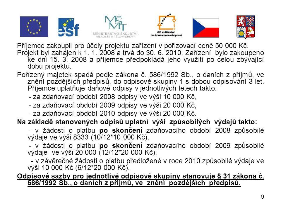 30 Archivace dokumentace povinnost archivovat všechny dokumenty vztahující se k projektu stanoví Smlouva o realizaci GP, příjemce ponechá originály dokladů jako součást svého účetnictví, daňové evidence a ostatních evidencí a při jejich uchovávání se řídí českými právními předpisy, příjemce podpory a partneři musí pro účely kontroly archivovat veškerou dokumentaci projektu do roku 2025.