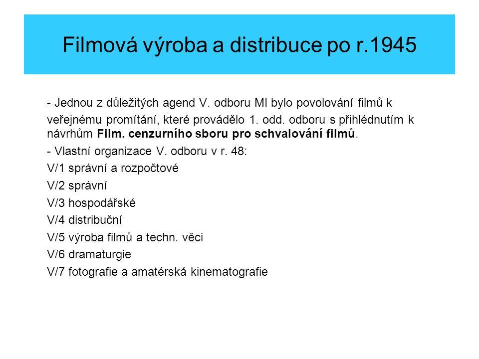 Filmová výroba a distribuce po r.1945 - Jednou z důležitých agend V.