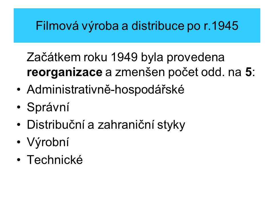 Filmová výroba a distribuce po r.1945 Začátkem roku 1949 byla provedena reorganizace a zmenšen počet odd.