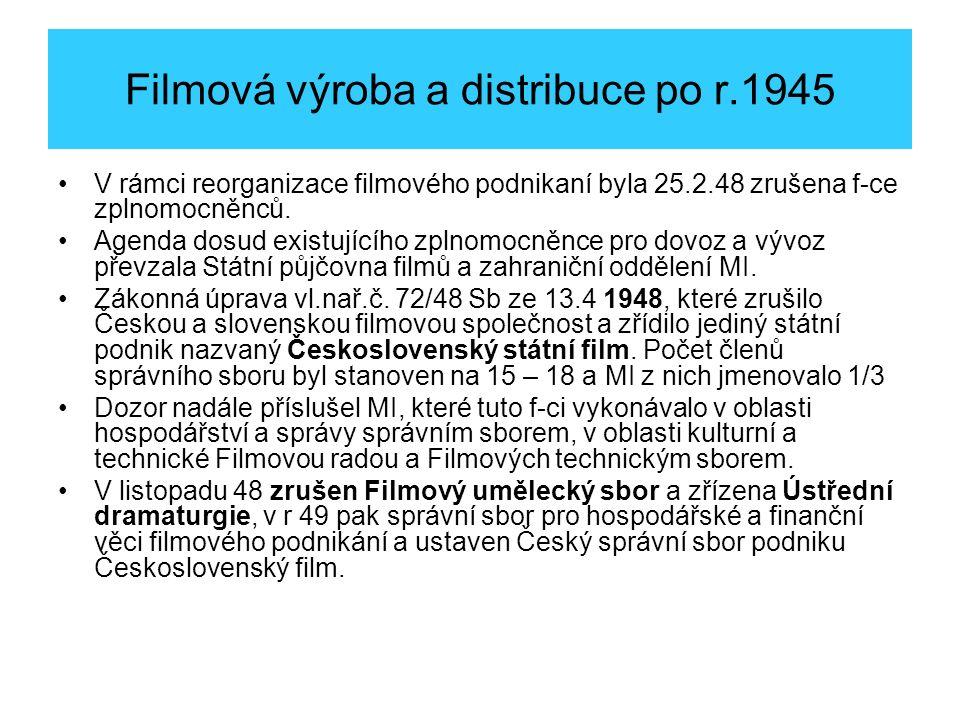 Filmová výroba a distribuce po r.1945 V rámci reorganizace filmového podnikaní byla 25.2.48 zrušena f-ce zplnomocněnců.
