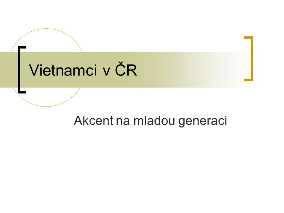 Vietnamci v ČR Akcent na mladou generaci