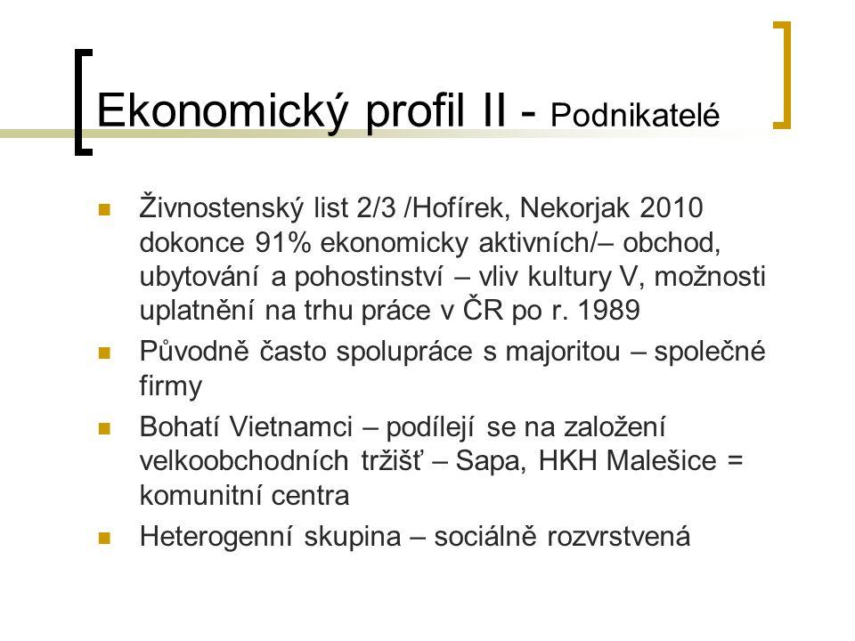 Ekonomický profil II - Podnikatelé Živnostenský list 2/3 /Hofírek, Nekorjak 2010 dokonce 91% ekonomicky aktivních/– obchod, ubytování a pohostinství – vliv kultury V, možnosti uplatnění na trhu práce v ČR po r.