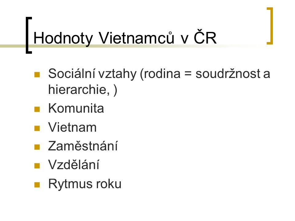 Hodnoty Vietnamců v ČR Sociální vztahy (rodina = soudržnost a hierarchie, ) Komunita Vietnam Zaměstnání Vzdělání Rytmus roku