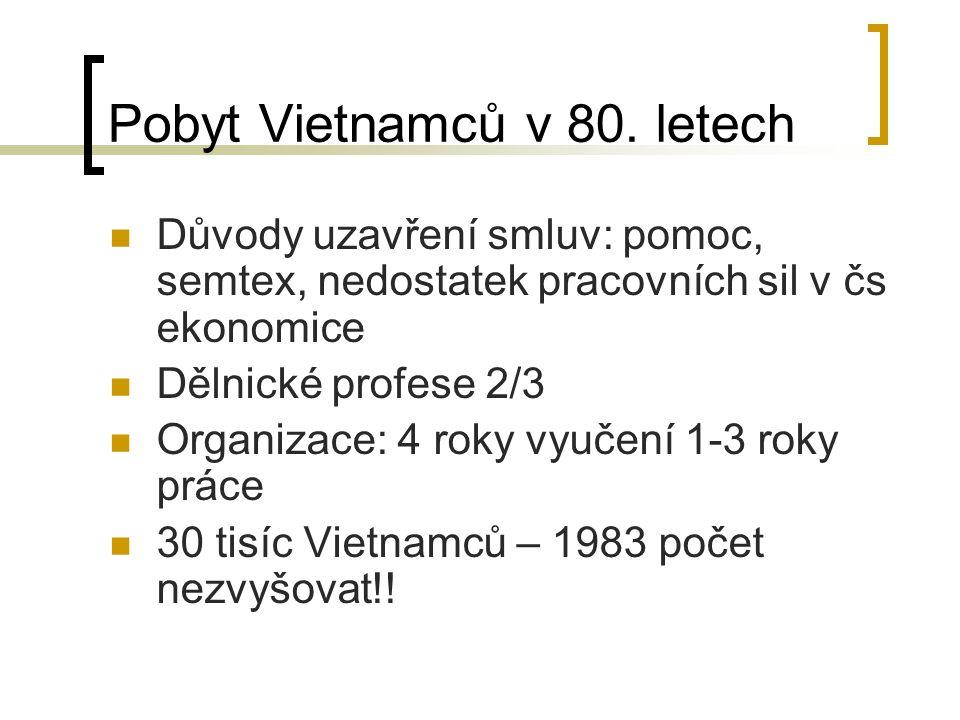 Pobyt Vietnamců v 80. letech Důvody uzavření smluv: pomoc, semtex, nedostatek pracovních sil v čs ekonomice Dělnické profese 2/3 Organizace: 4 roky vy